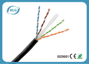 China Single PE Cat6 Network Ethernet Cable / 8 Core Copper Cat6 UTP Network Cable Black supplier