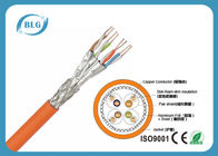 23AWG CU Yellow Cat 7 Lan Cable With 4 Pairs Braiding Individually Shield