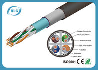 China STP FTP Outdoor Cat6 Lan Cable PVC PE Dual Jacket 1000FT Networking Roll Black factory