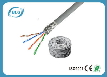 China SFTP Cat5e Lan Cable 4 Pairs Pure Copper STP Solid 24AWG With Al- Foil 350MHZ distributor
