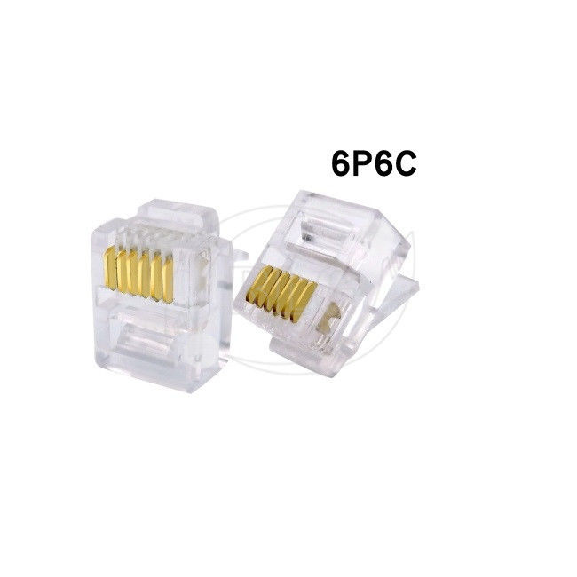 RJ12 Network Cable Accessories Crystal Telephone Cable Head 6P6C 6P4C 6P2C Gold Plated