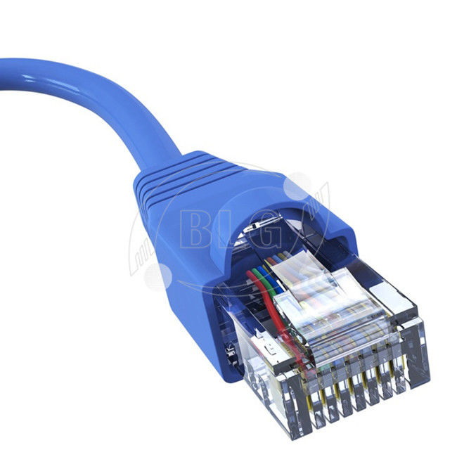 23/24AWG CU Cat6 Ethernet Patch Cable With Blue RJ45 Plug Boots Length Customized